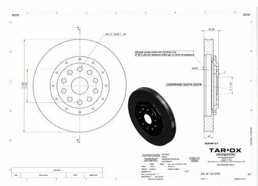 disegno tecnico disco freno